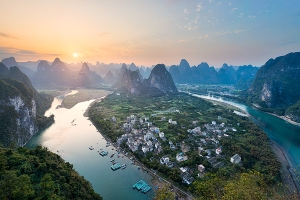 A beautiful sunset view from the top of Karst Peak in Xingping China.